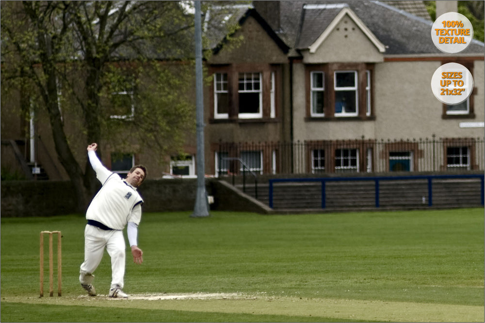 Cricket match, Edinburgh's Castle, Scotland. | 100% Detail.