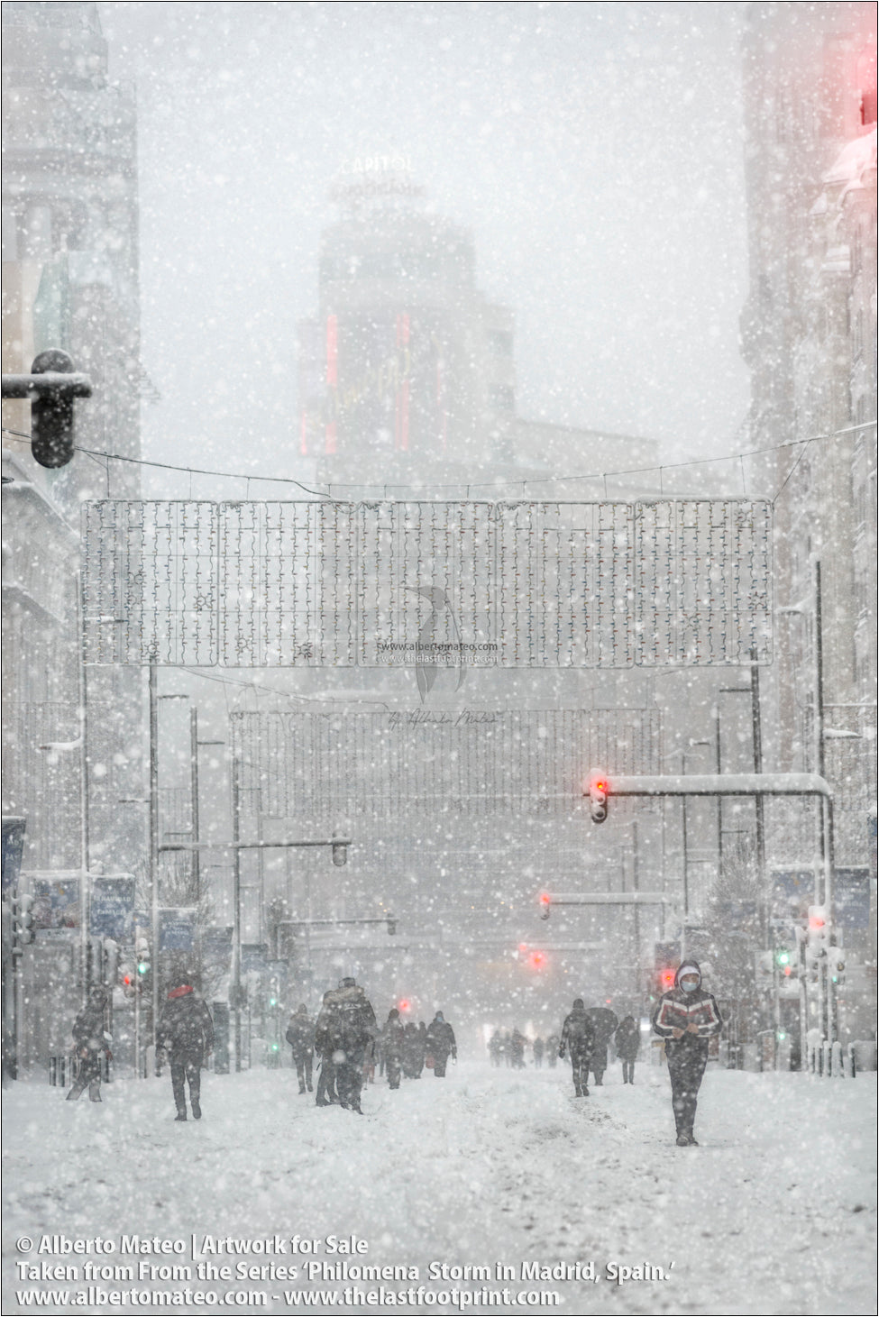Gran Via, Edificio Capitol, Filomena Winter Snow Storm, Madrid, Spain.