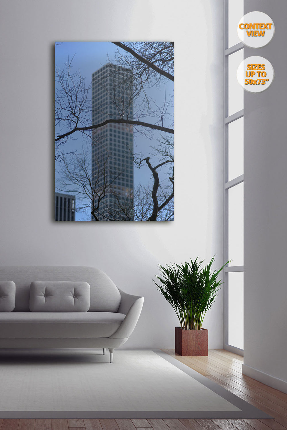 The Hive from Central Park, Manhattan, NYC, US. | Print hanged next to window.