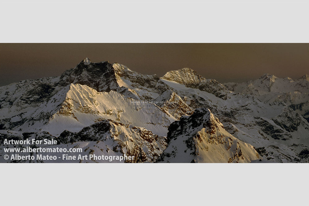 Mount Corno Bianco at dusk, Alps, Italy. | Open Edition Panoramic Print.