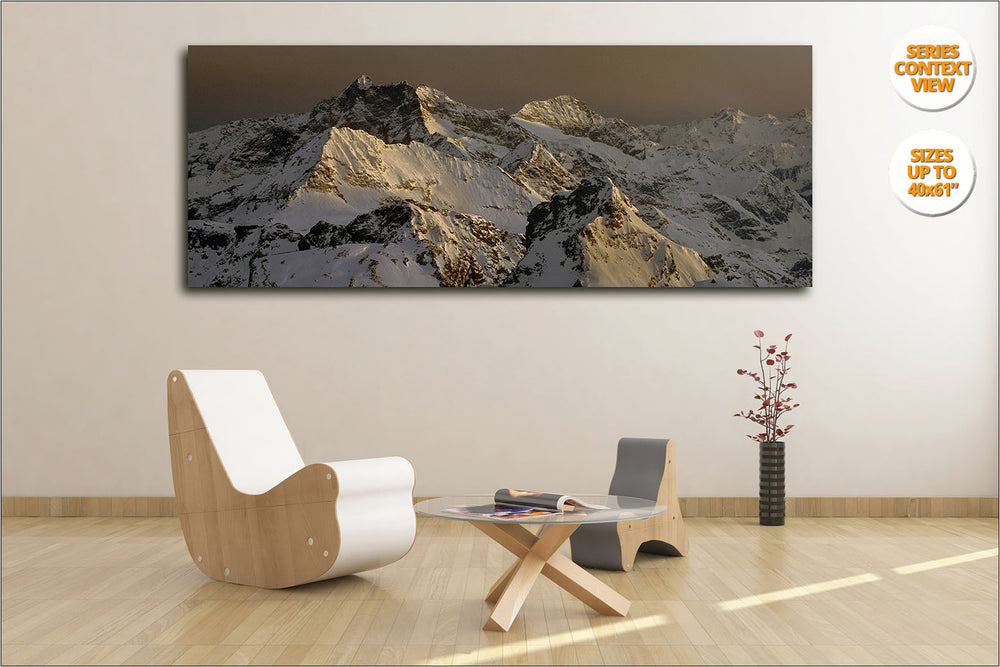 Mount Corno Bianco at dusk, Alps, Italy.  | View of Panoramic Print hanged in Living Room.