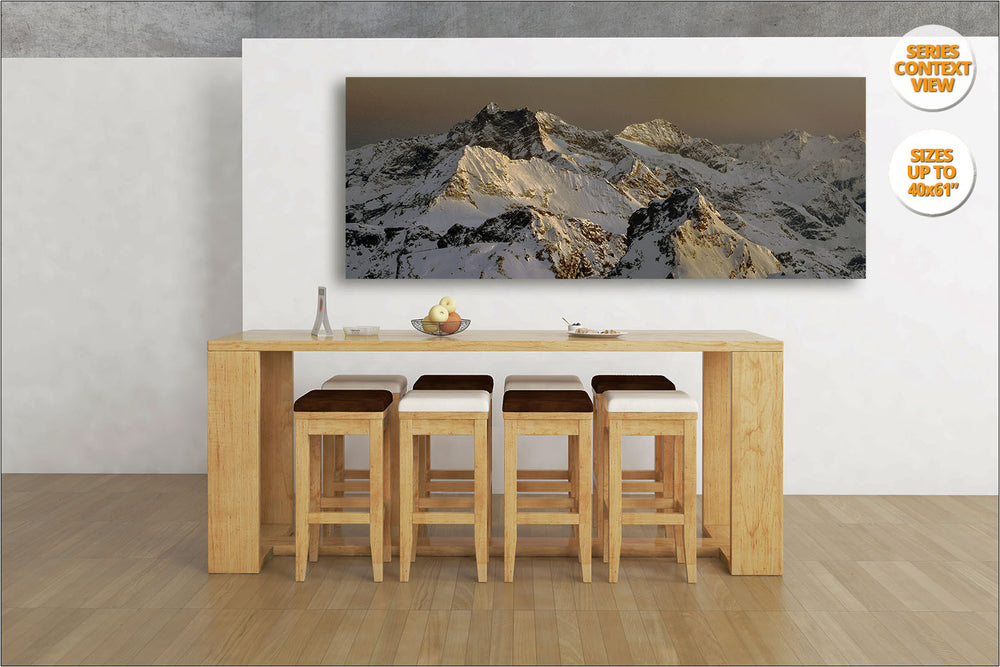 Mount Corno Bianco Panorama, Alps, Italy.  | View of Print hanged in Living Room.