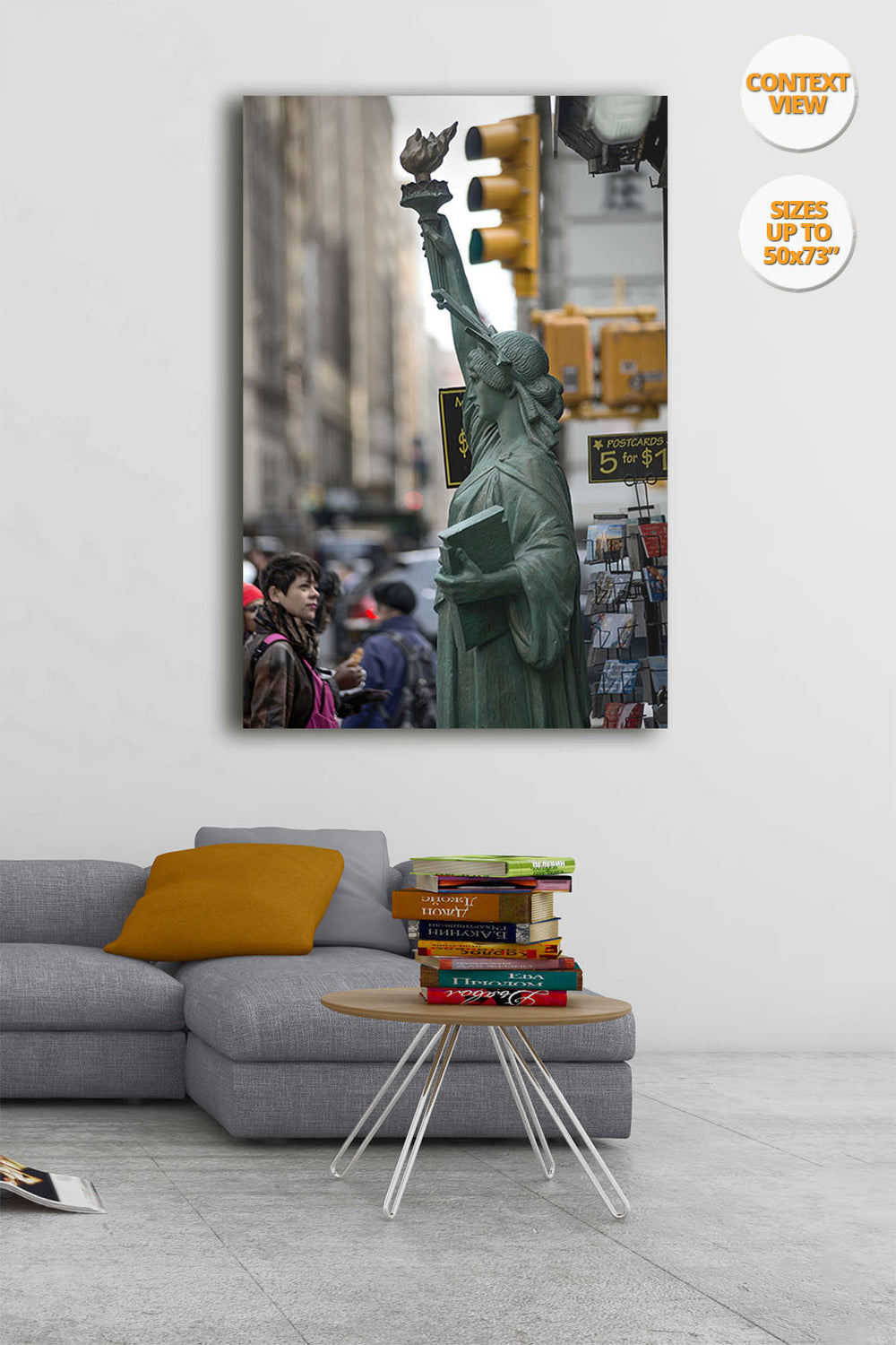 Statue of Liberty in the Fifth Avenue, New York. | Print hanged over sofa.