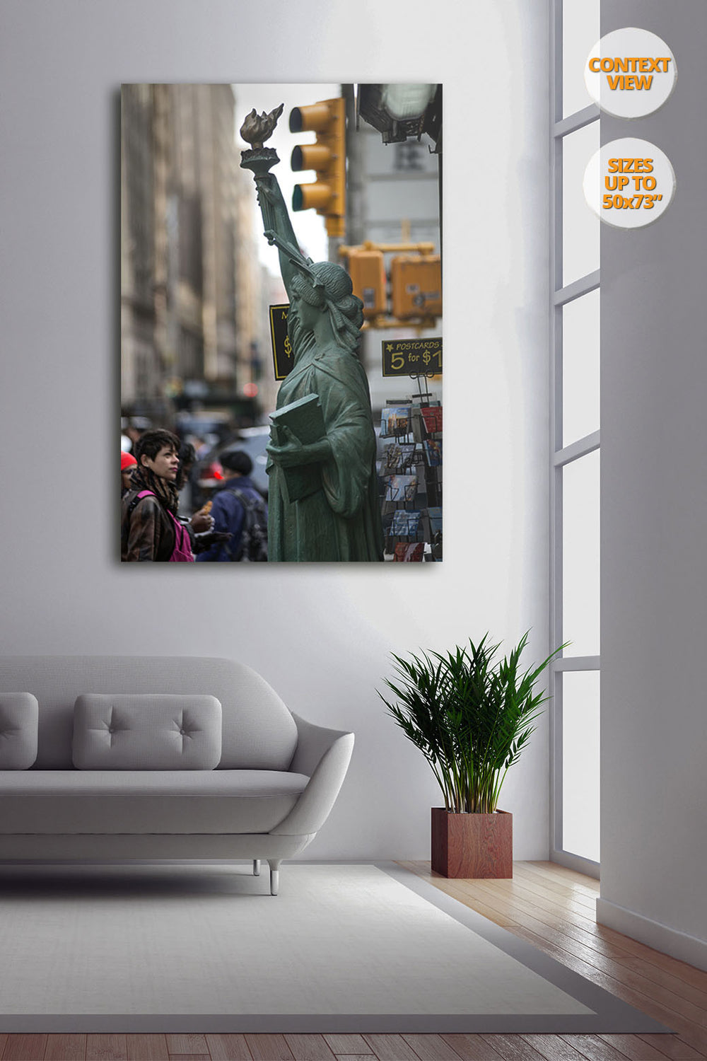 The Statue of Liberty in the 5th Avenue, New York, United States. | Print hanged next to window.