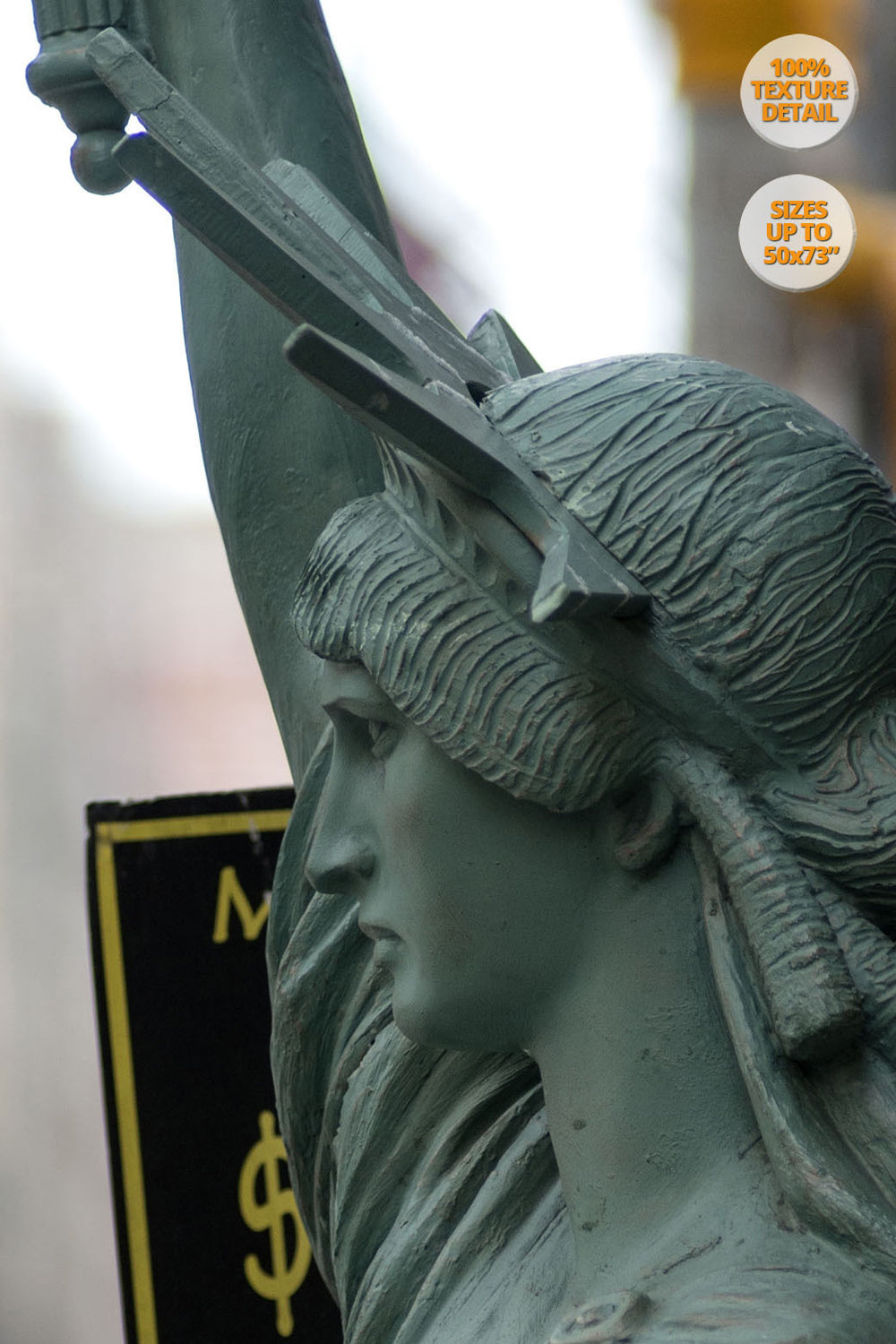 The Statue of Liberty in the Fifth Avenue, New York. | 100% Magnification Detail.