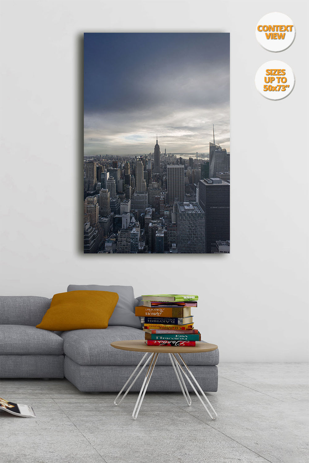 The Empire State Building before sunset, Midtown Manhattan, NYC. | Print hanged in living room.