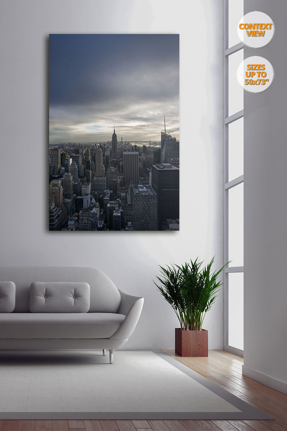 The Empire State Building before sunset, Midtown Manhattan, NYC. | Print hanged next to window.