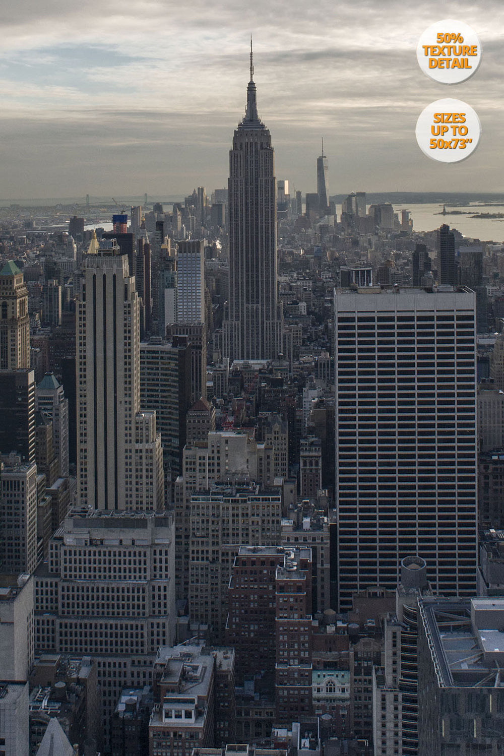 The Empire State Building before sunset, Midtown Manhattan, US. | View of the Print at 50% magnification detail.