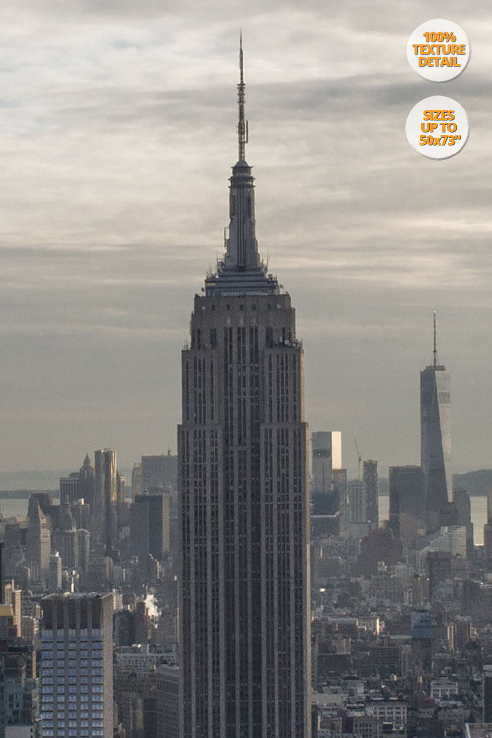 The Empire State Building before sunset, Midtown Manhattan, US. | Giant Print Detail at 100% magnification.