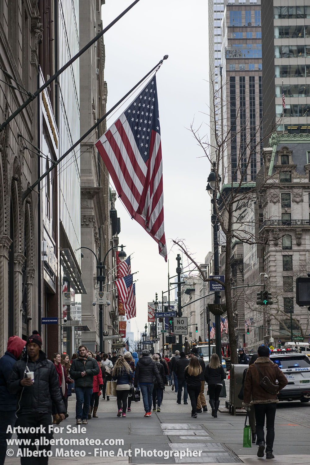 American Flag in the streets of Manhattan, New York.