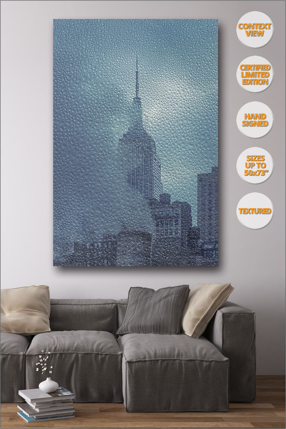 Empire State under the Rain, New York. Series 1/4. | Living room view.
