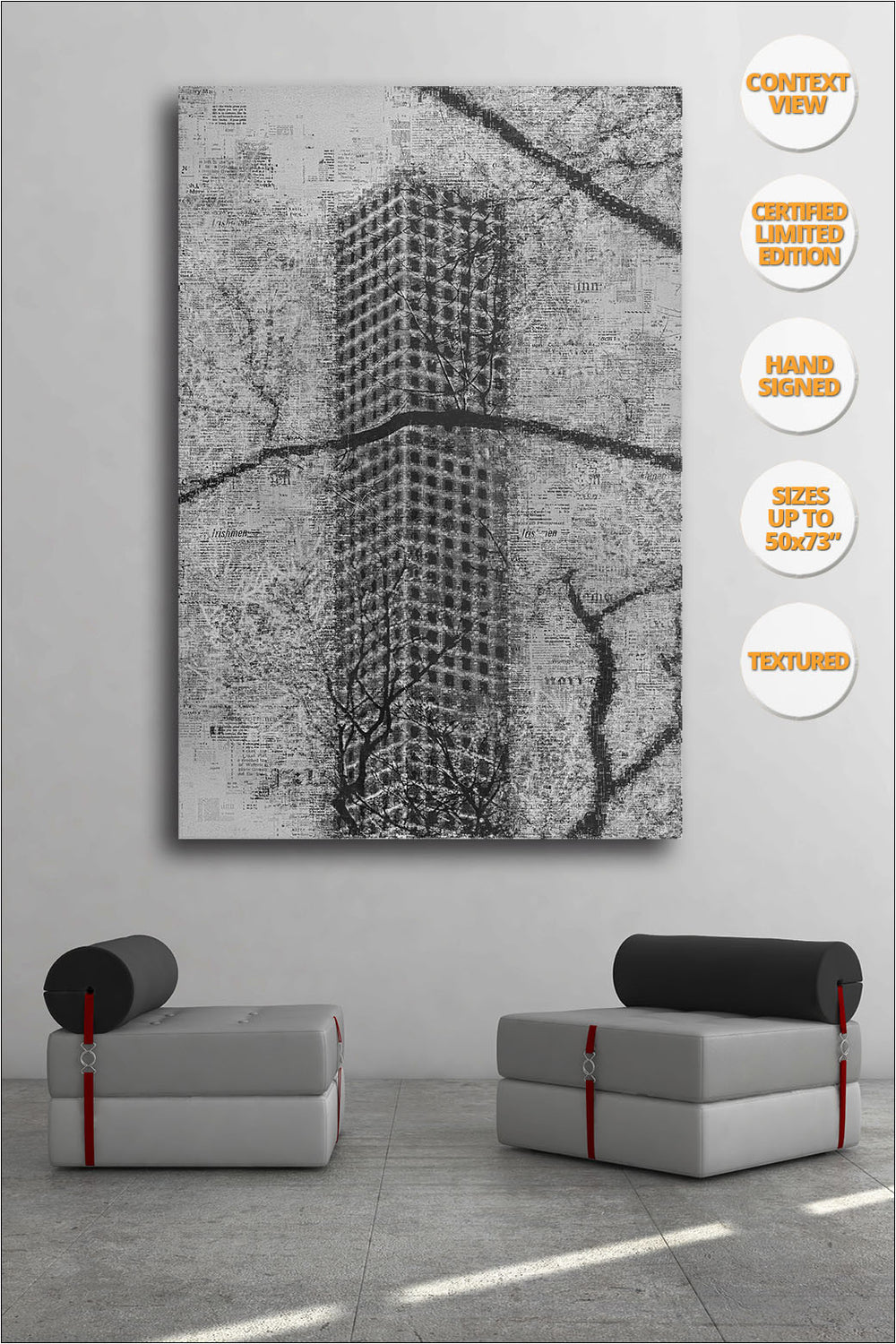 The Hive from Central Park, Manhattan, New York.  | Black and White Print hanged in office.