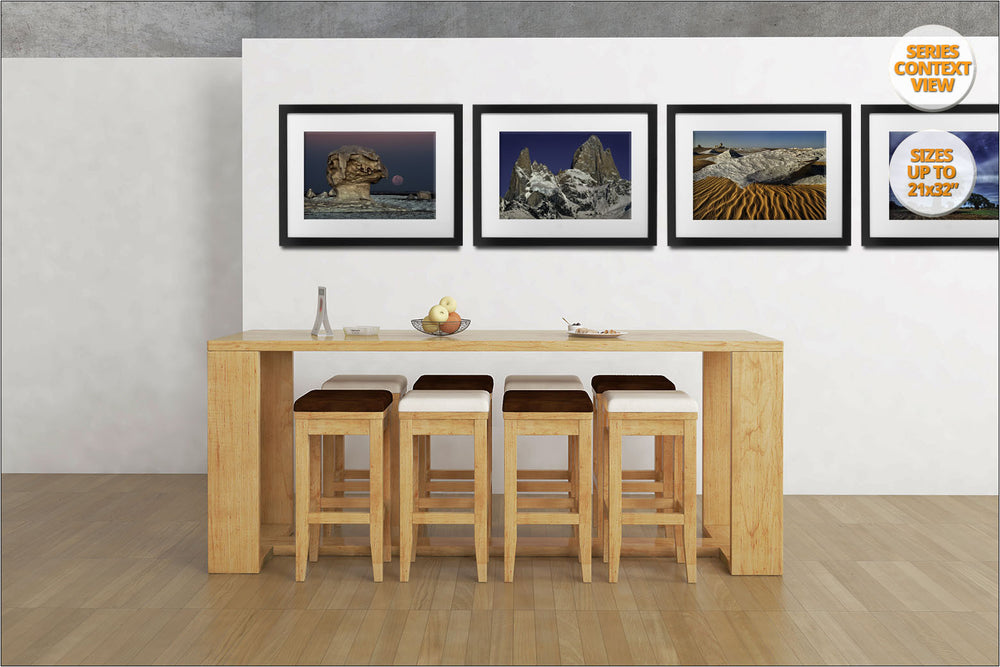 Rock formations at sunrise, White Desert, Egypt. | Print hanged as part of a series in office.