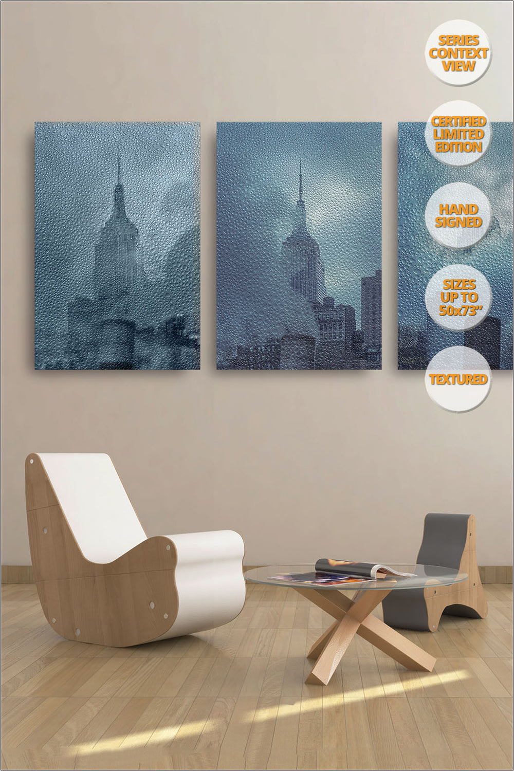 Empire State under the Rain, New York. Series 1/4. | Series hanged in living room.