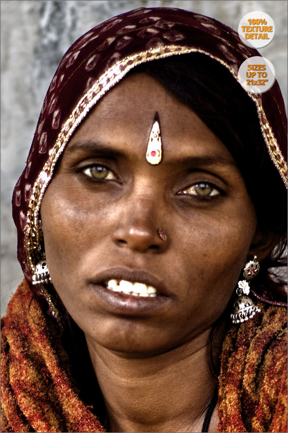 Portrait of Rajastani woman, Pushkar Camel Fair, Rajastan. | 100% Magnification Detail.