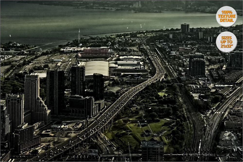 Aerial view of Toronto from top of CN Tower. | 100% Detail.