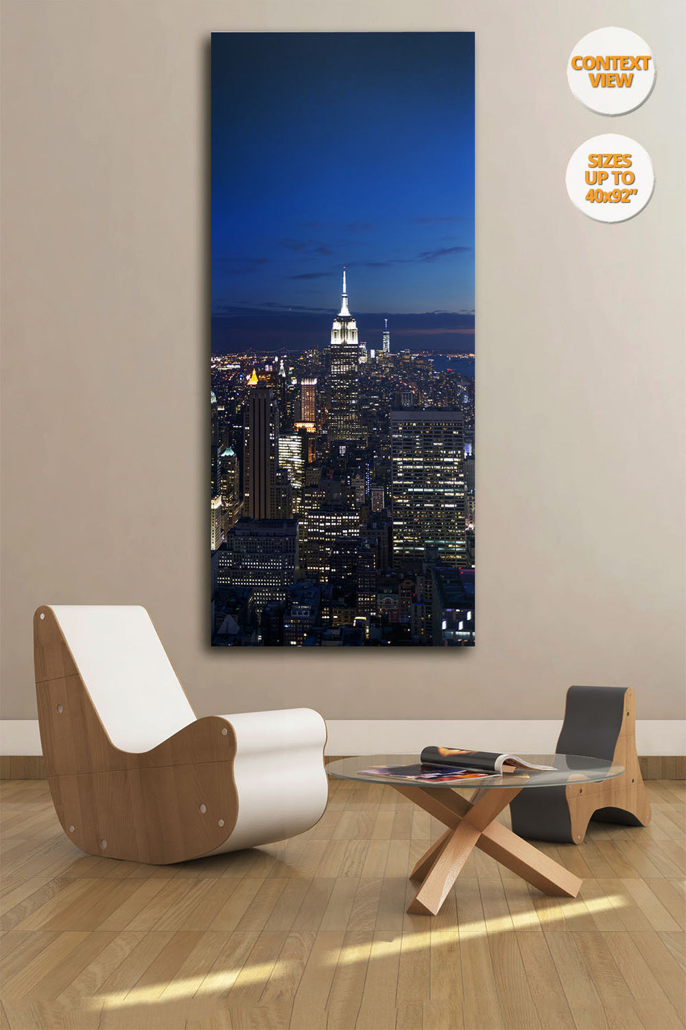 The Empire State Building by night, NYC. | View of the Print hanged in reading room.