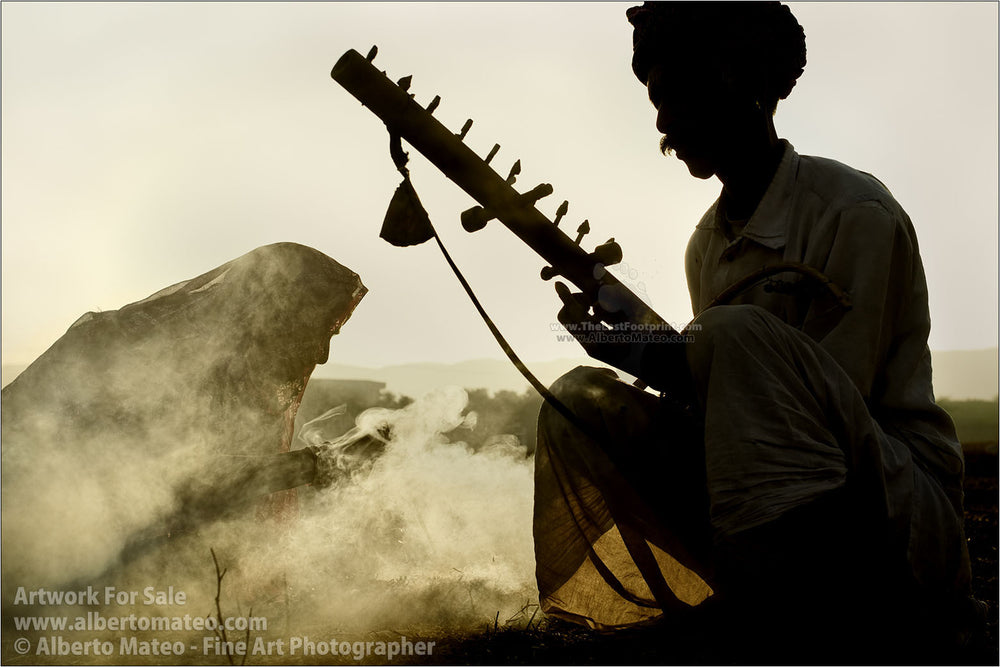 Rajastani Musicians, sunrise, Pushkar Camel Fair, India. | Open Edition Print.
