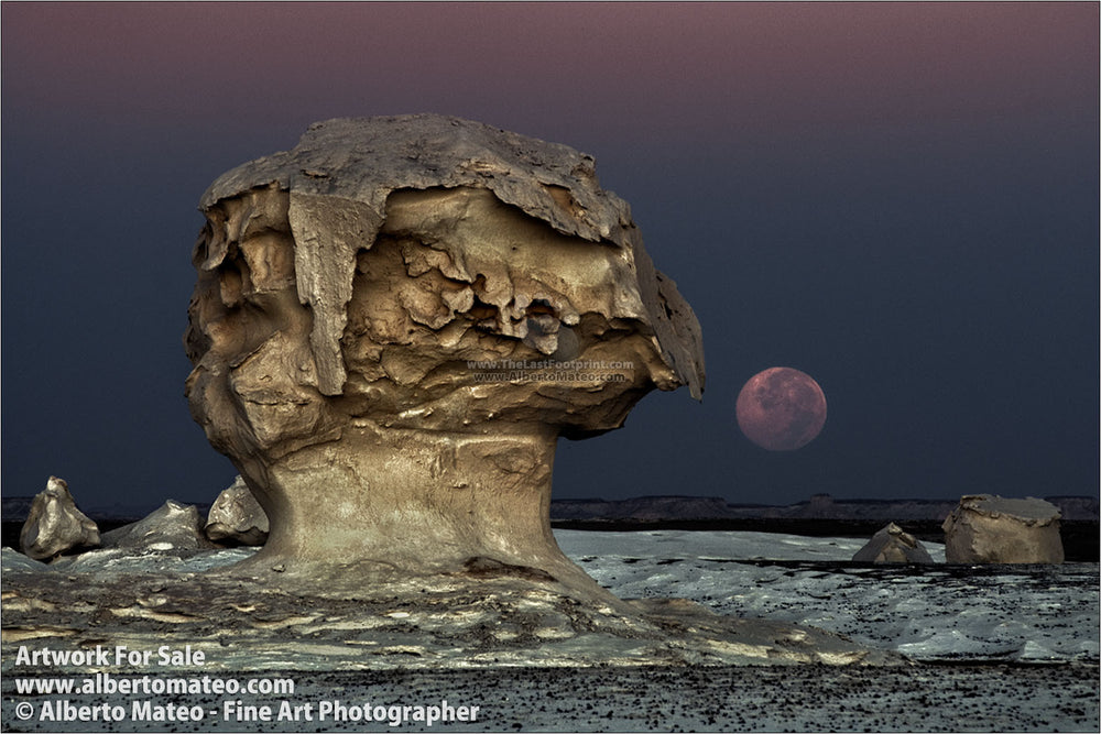 The Moon rising among rocks, White Desert, Egypt. | Open Edition Fine Art Print.