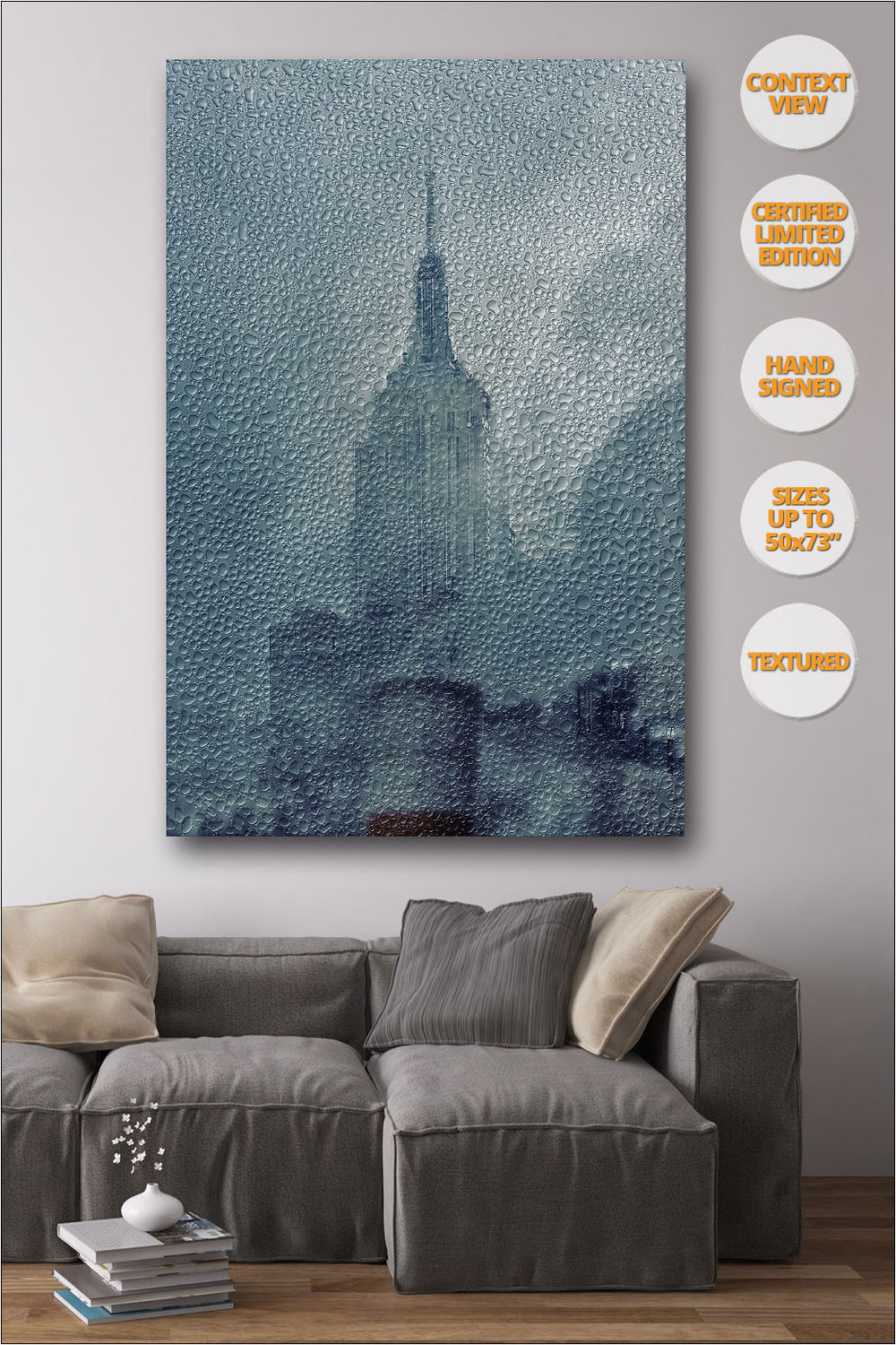 Empire State under the Rain, New York. Series Print #2/4. | Living room view.