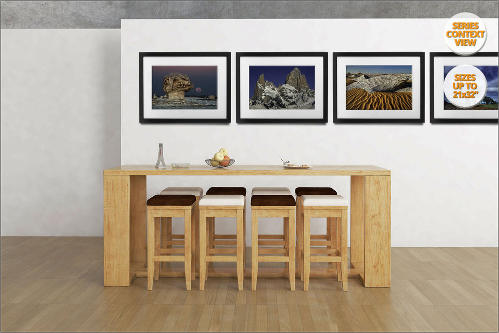 The Moon rising among rock formations, White Desert, Egypt. | Print hanged as part of a series in kitchen.