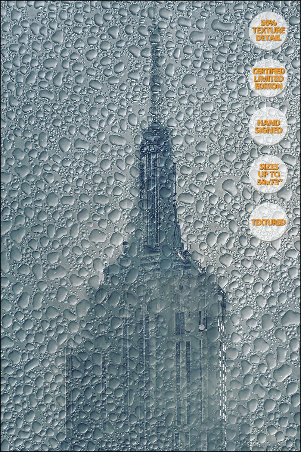 Empire State under the Rain, Manhattan, NY. Print #2/4. | 50% Print Detail.