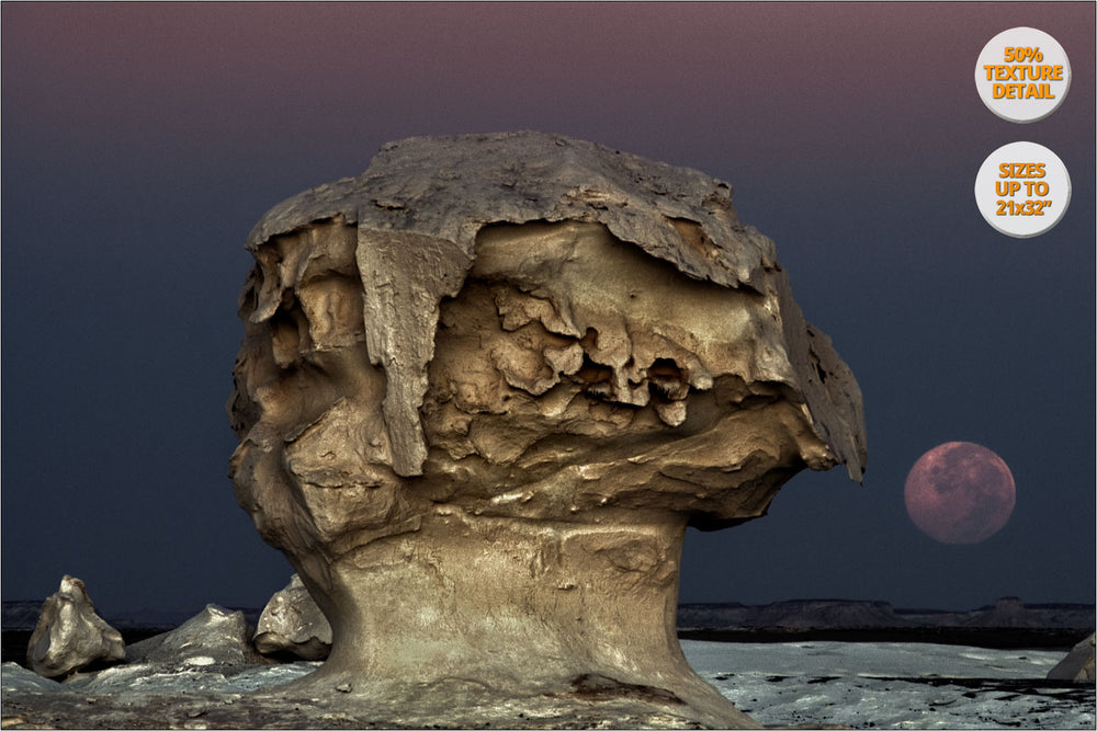 The Moon rising among rock formations, White Desert, Egypt. | 50% Magnification Detail.
