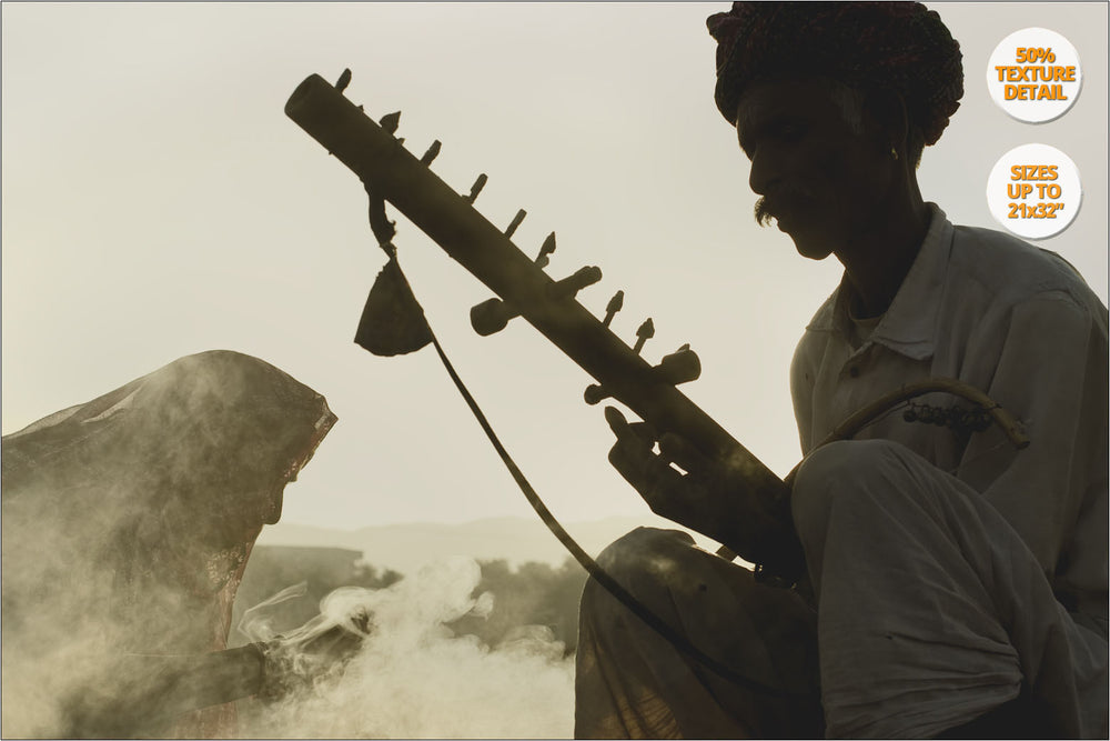 Rajastani Musicians, sunrise, Pushkar Camel Fair, India. | 50% Magnification Detail.