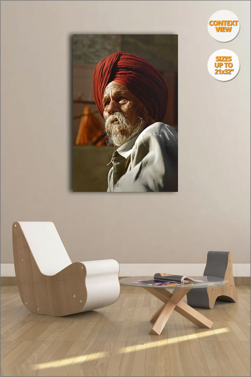 Portrait of a Sikh, Chandigarh, India. | View of the Print hanged in Living Room.