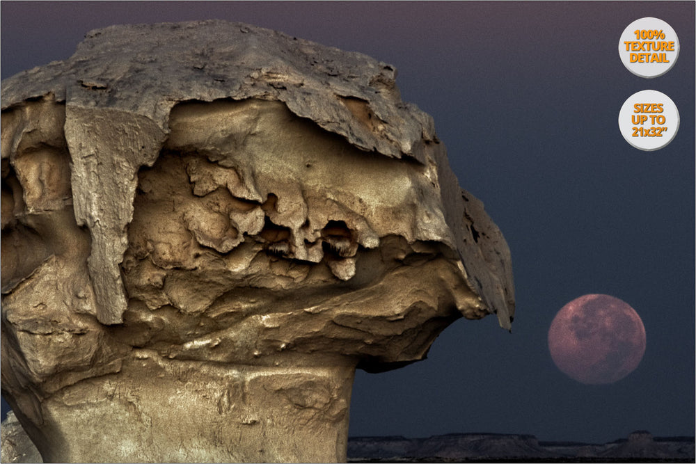 The Moon rising among rock formations, White Desert, Egypt. | 100% Magnification Detail View of the Print.