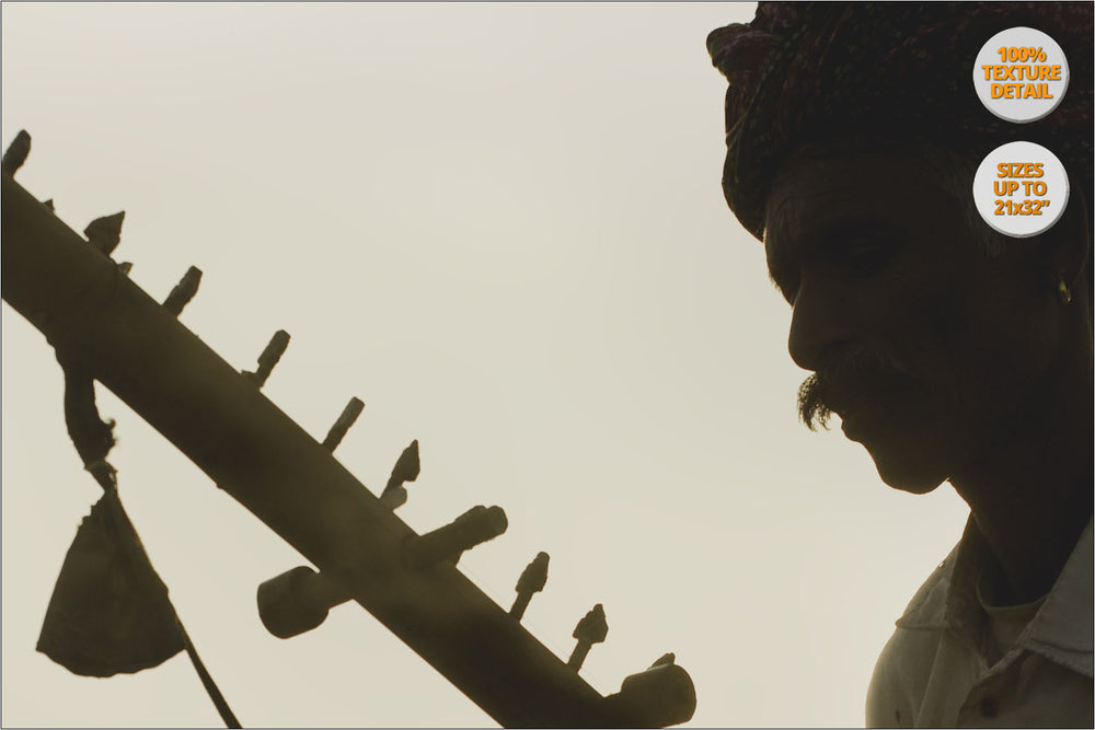 Sunrise, Rajastani Musicians at Pushkar Camel Fair, India. | 100% Magnification Detail View of the Print.