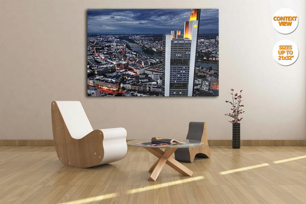 Panoramic view of Frankfurt am Main, Germany. | Hanged in living room.