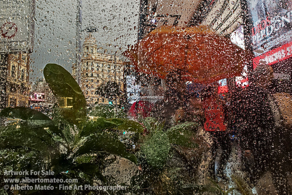 Rain in the Gran Via, Madrid, Spain. | Open Edition Fine Art Print.