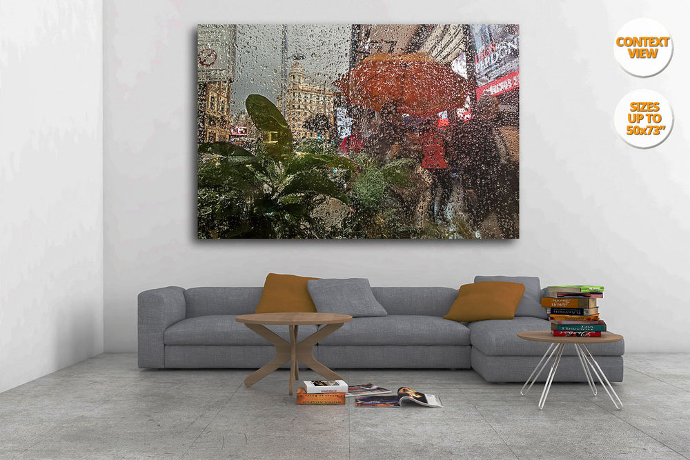 Rain in the Gran Via, Madrid. | View of the Print hanged in Living Room.