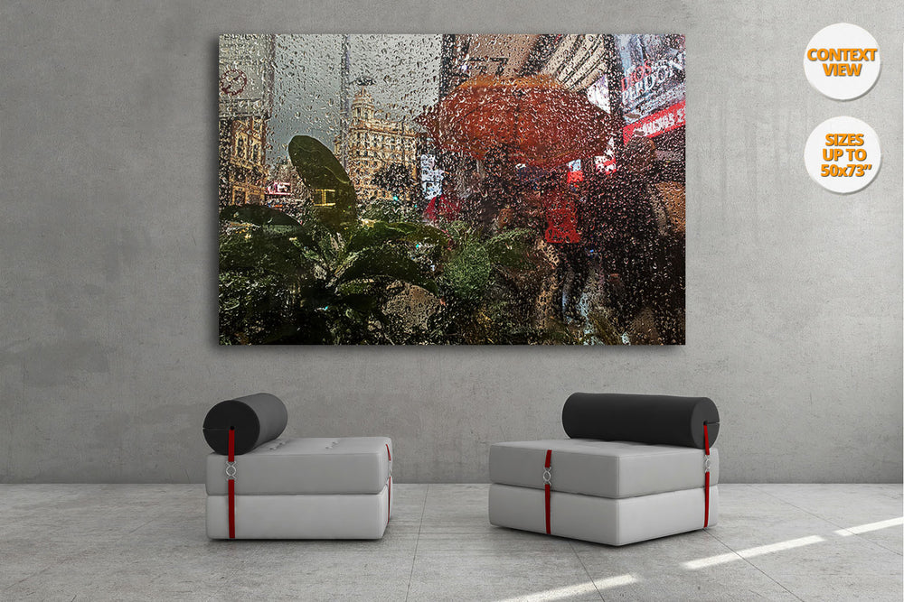 Rain in the Gran Via, Madrid. | View of the Print hanged in meeting room.
