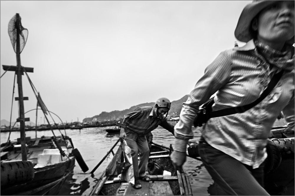 Taxi boat, Cat Ba Island, Vietnam. | Black and White Original Fine Art Print.