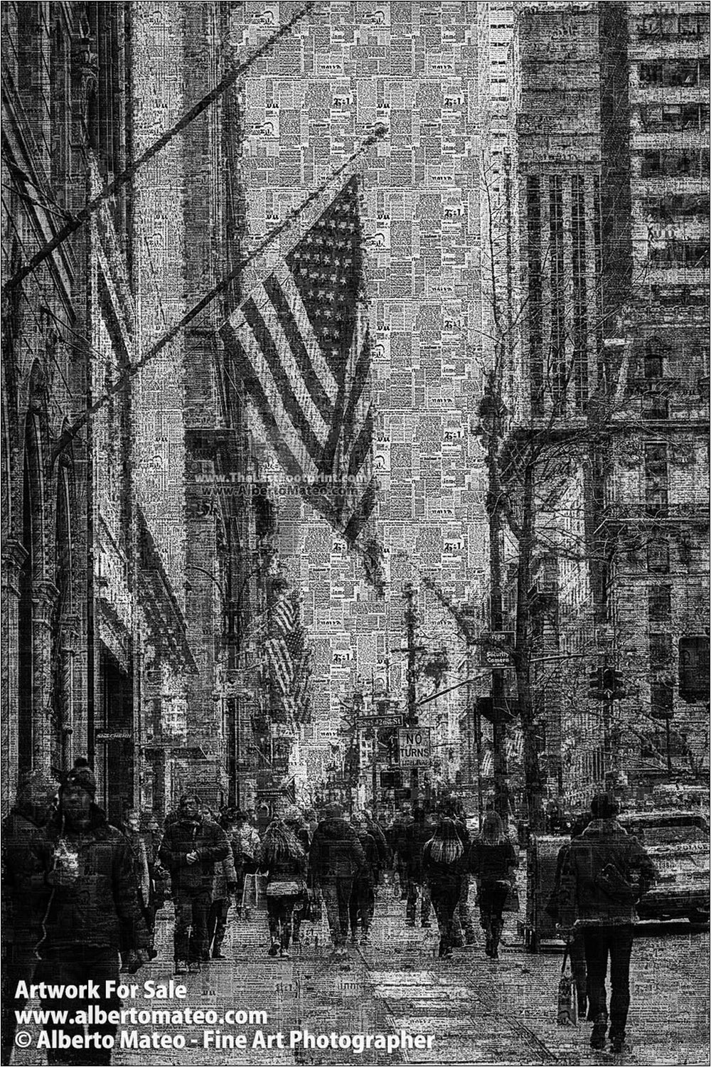 Flag in the Fifth Avenue, Manhattan. Already Written Series.