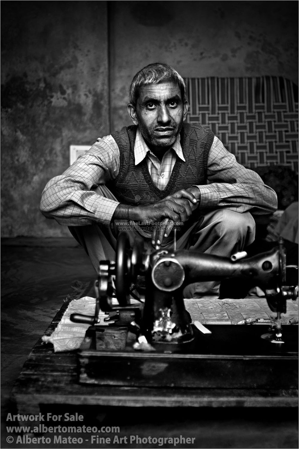 Tailor with his sewing machine, Chandigarh, India. | Black and White Fine Art Print.