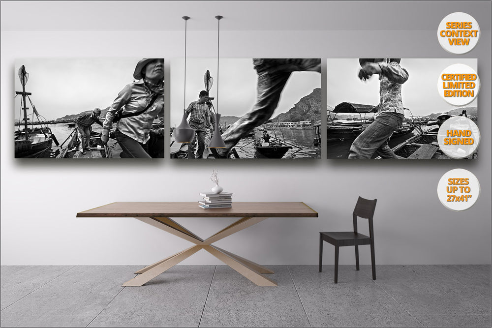 Taxi boat, Cat Ba Island, Vietnam. | Series of three prints hanged in dining room.