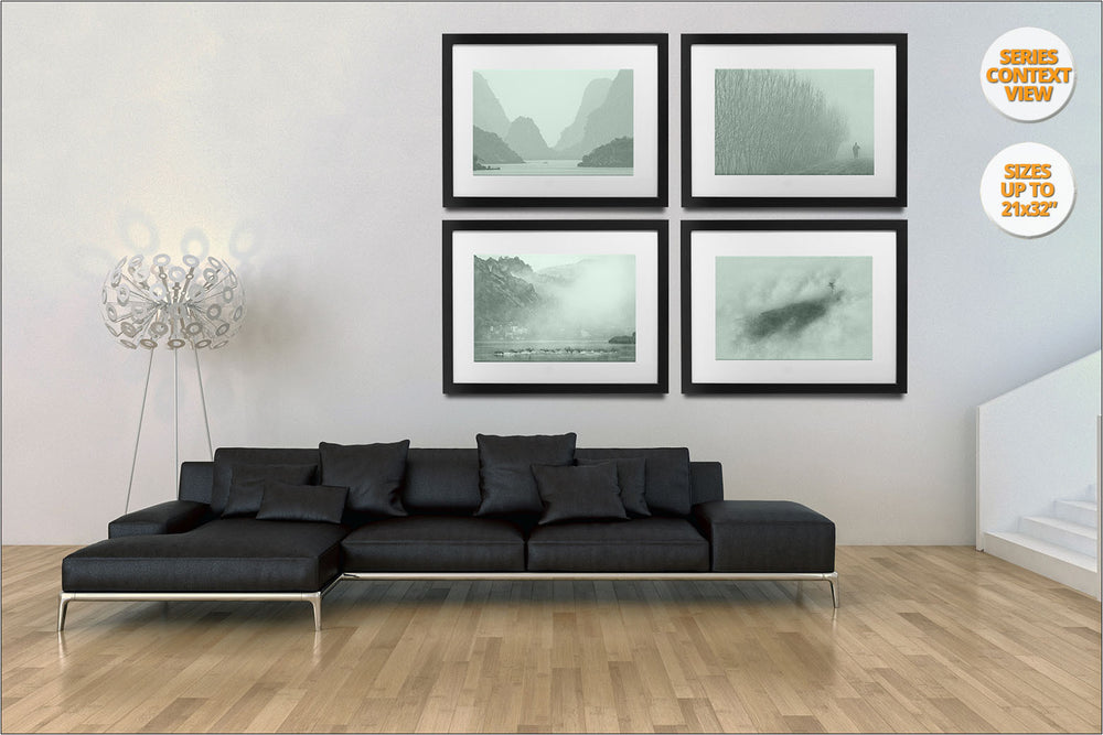 Series of Four Images in Green. | Hanged in living room.