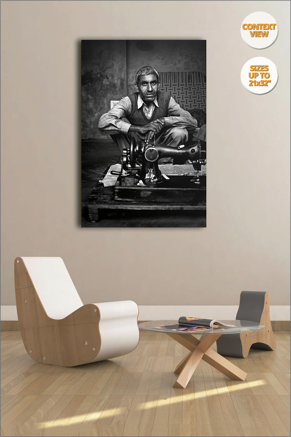 Tailor with his sewing machine, Chandigarh, India. | Print hanged in living room.