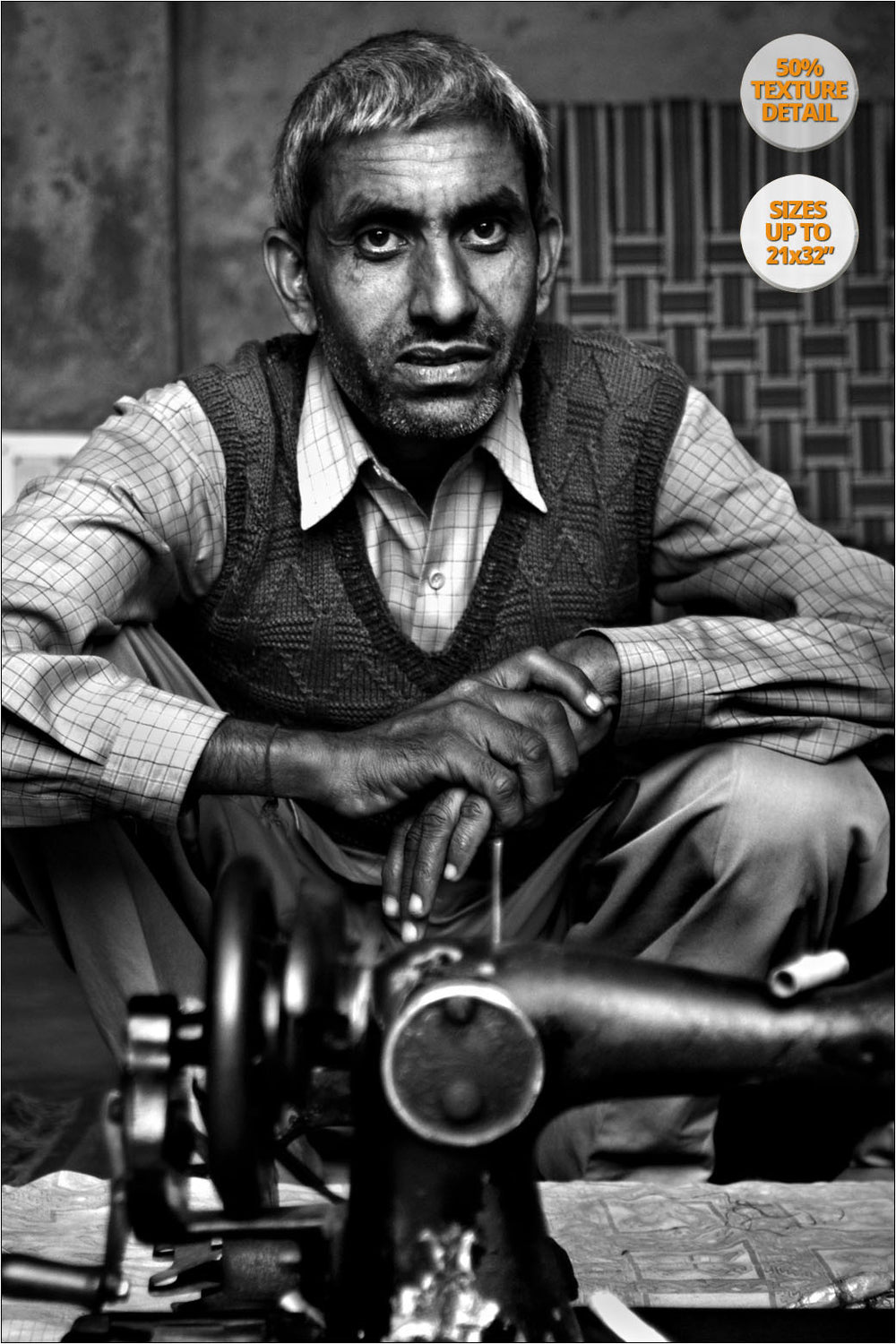 Tailor with his sewing machine, Chandigarh, India. | View of the Print at 50% magnification detail.