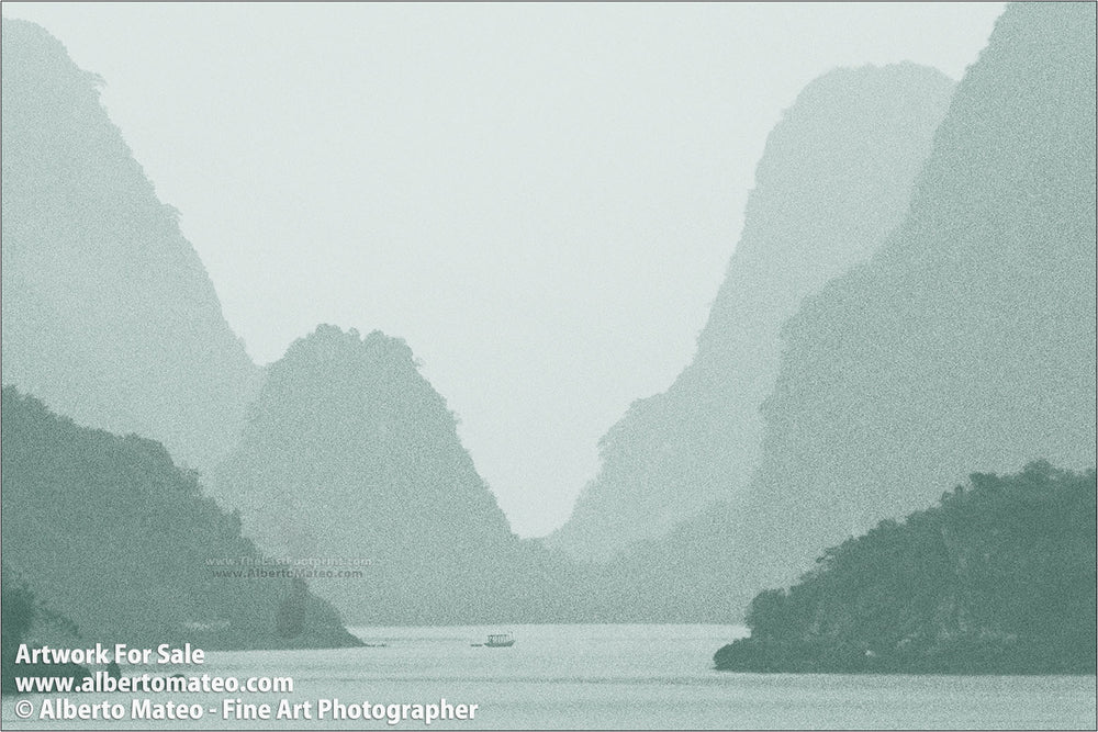 Karstic pinnacles in Ha Long Bay, Vietnam. | Colored Black and White Fine Art Print.