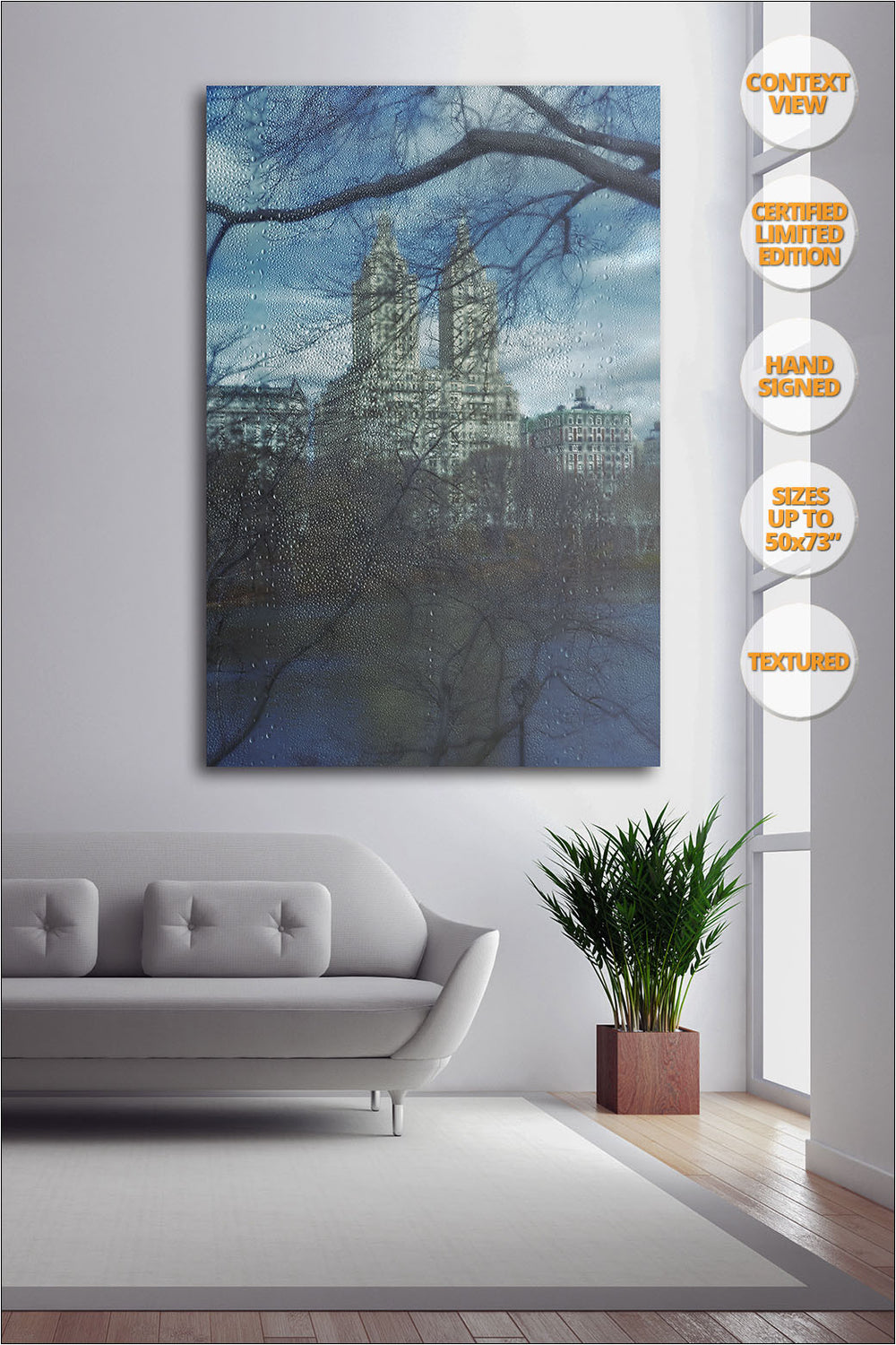 The San Remo from Central Park in Winter, New York. | Limited Edition Print hanged in living room.