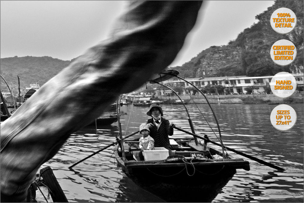Passengers in boat dock, Cat Ba, Series of three, Vietnam. [2/3] | 50% Magnification Detail View.