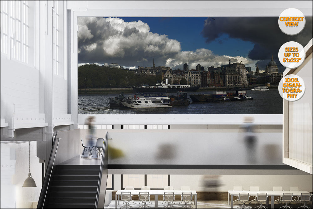 Thames river and Saint Paul Cathedral, London. | Giant Print hanged in office.