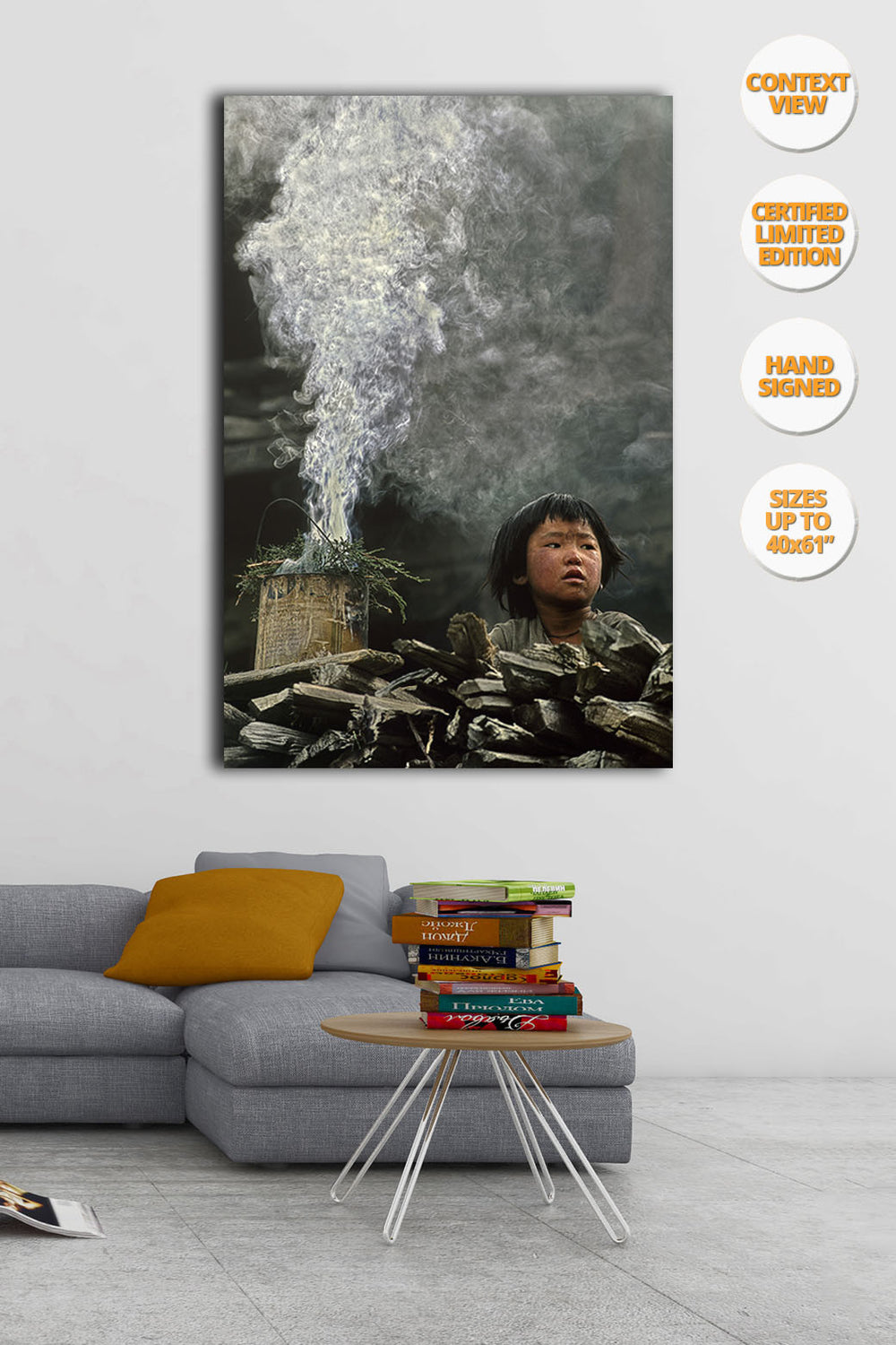 Boy and Incense smoke, Himalaya, Nepal. | View fo the Print hanged in living room.