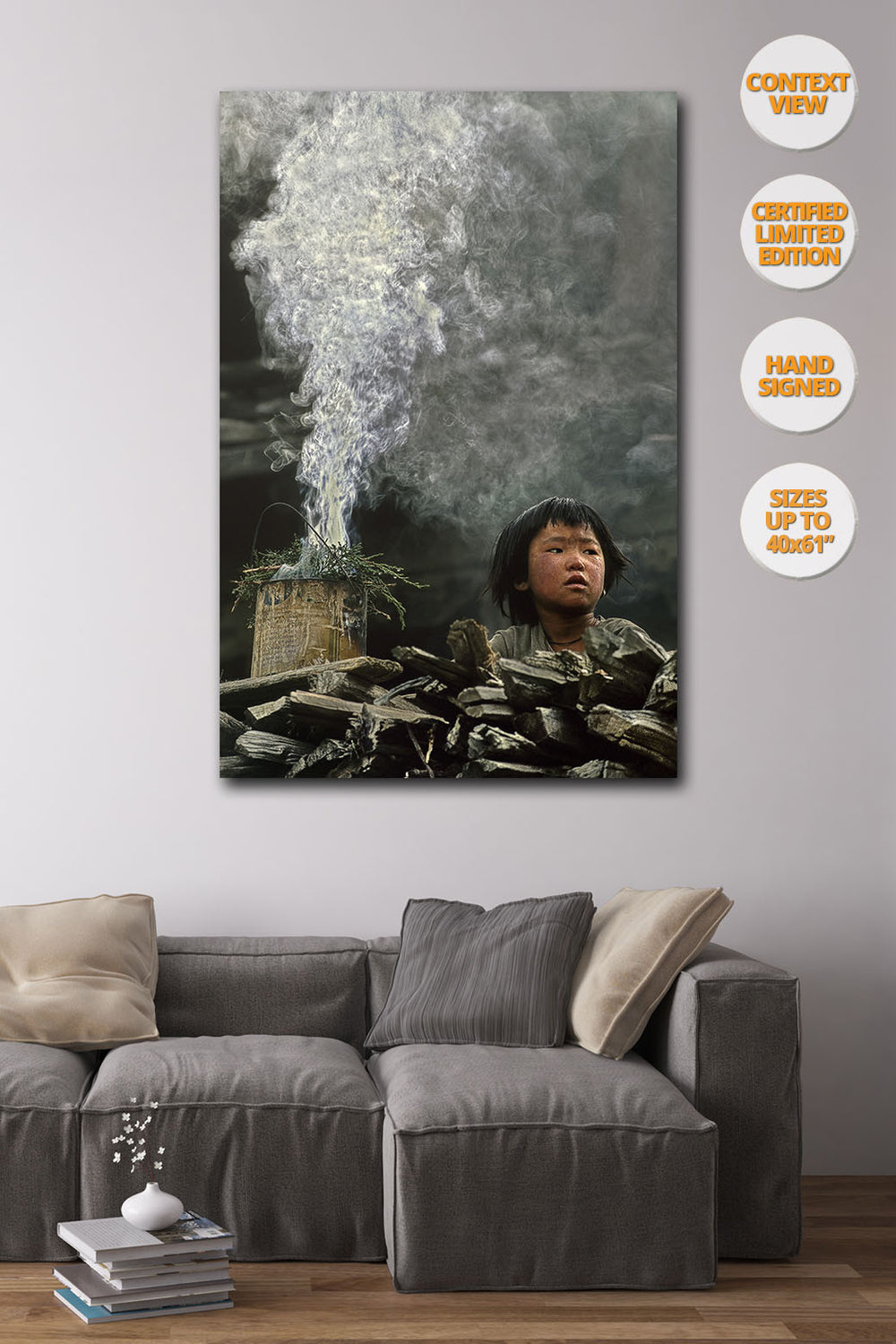 Boy and Incense smoke, Upper Pisang, Himalaya, Nepal. | Print hanged in living room.