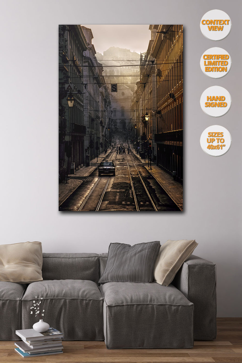 Taxi in La Baixa at sunrise, Lisboa, Portugal. | Print hanged in living room.