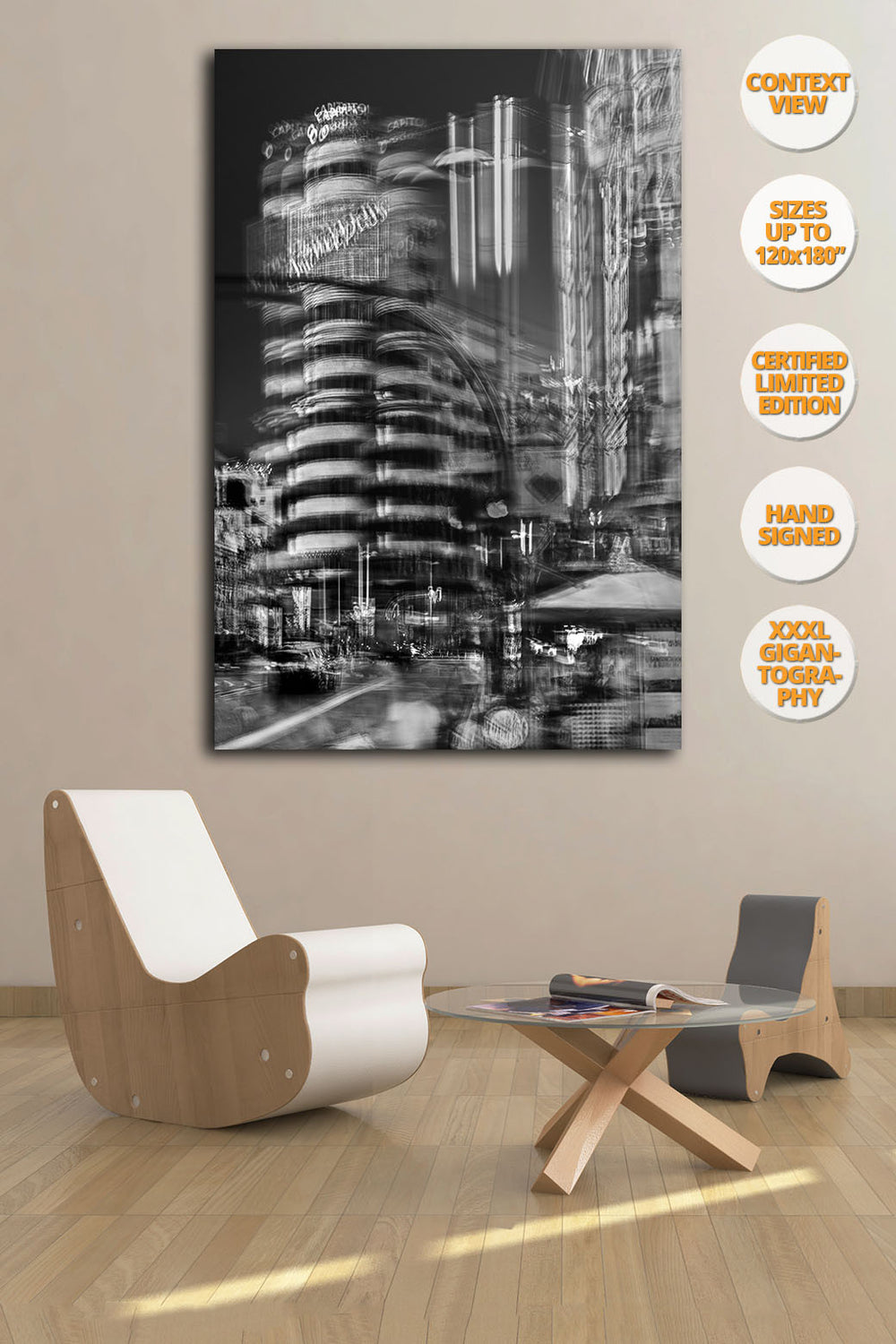 Capitol Building, Gran Via, Madrid, Spain. | Handmae Print with furniture.